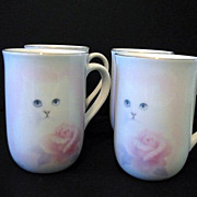 Otagiri 4  Cups Cat with Pink Rose Bone China Made in Japan