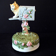 Music Box Kitty in Mailbox Ceramic Made in Thailand