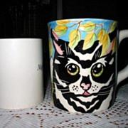 SALE Mug Set 4 Huge Hand Painted Cat Face Ceramic