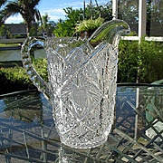 Water Pitcher Ornate Pressed Glass EAPG