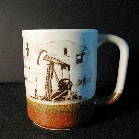 Cup Otagiri Oil Field with Wells Ceramic Made In Japan