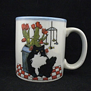 Cup Ceramic Black and White Cat  Otagiri  Sugawara Design