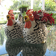 Speckled Hen Pair Teapot  Plus Planter Otagiri Ceramic