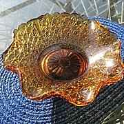 Amber Bowl Daisy Button Large Sawtooth Rim Thin Panel