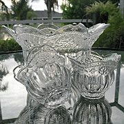Bowl Set 3 Pc Floral Lace Crystal Studio Nova