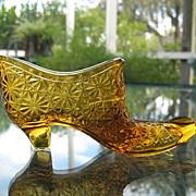 Daisy Button Amber Shoe Vase Match Holder Vintage