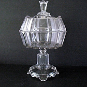 Large Covered Compote Clear Ribbon Scalloped Base 1882