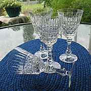 Cut Blown Crystal Stems 4 Cocktail Glasses  Bell  Tone Ring
