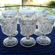 Small 6 Pressed Glass Bryce Wine Glasses 1905