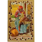 Black Americana Postcard- Thanksgiving Dinner With Turkey On The Menu