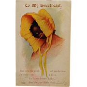 Signed Black Americana Postcard UDB- Shy Little Girl In Bright Yellow Prairie Bonnet