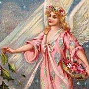 Tuck's Beautiful Flower Bedecked Angel In Pink