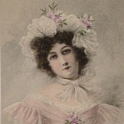 Postcard Of Dark Eyed Beauty With Ruffled Cap And Lavender Gown