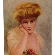 "Signed Kenyon- Beautiful Blonde With Rose ""In Dreamland"""