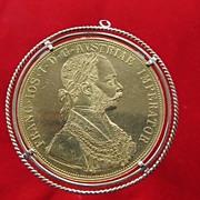 Austrian Four Ducats pendant, eighteen karat yellow gold