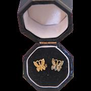 Fourteen karat yellow gold  children butterfly ear studs , ca.1960