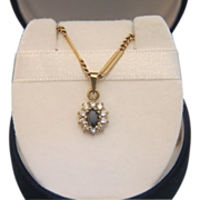 Classic Sapphire and Zirconia pendant, set in 10 karat yellow gold, ca. 1960