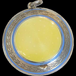 Yellow Guilloche enamel silver pendant, 19th century