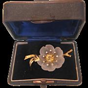 Rock crystal, Diamond and yellow Topaz brooch, 18K yellow gold, ca. 1950