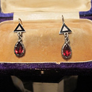 Antique Garnet and Enamel silver and yellow gold earrings,19th century