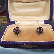 Victorian Garnet and silver earrings in the shape of a flower head, 19th century