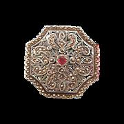 Silver, Marcasite and Garnet brooch/ pendant, turn 20thcentury