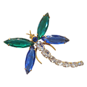 Lovely Art Deco style dragonfly glass brooch, dated at about 1940