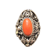 Tomato red Coral and silver ring, dated about 1920
