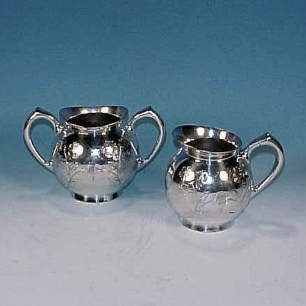 Antique MERIDEN B. Quadruple Silverplate Cream & Sugar Bowl Japanese Style