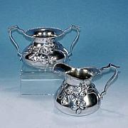 COLONIAL SILVER CO. Quadruple Silverplate Creamer & Sugar Bowl Tea Set Art Nouveau