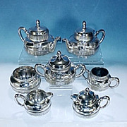 Antique DERBY SILVER Quadruple Silverplate Repousse & Engraved 7 Piece Tea & Coffee Set #1629