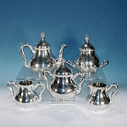 JAMES W. TUFTS Quadruple Silverplate Tea Set 5-Piece Victorian Antique - Restored and re-Silvered