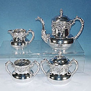Antique FORBES SILVER Quadruple Silverplate Repousse Tea Set #166