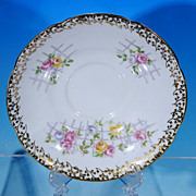 Vintage COLLINGWOODS fine bone china SAUCER / Pink, Yellow and Blue Roses on Trellis