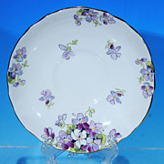 Vintage Crown STAFFORDSHIRE Fine Bone China Saucer Purple Violets #F15972