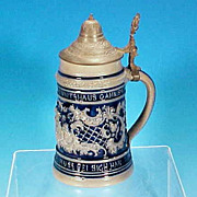 Antique Mathias Girmscheid Saltglaze Lidded Cobalt GERMAN Beer Stein - Cobalt Blue / Kissing Cherubs