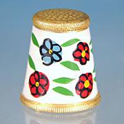 Vintage Hand-Painted Floral ENAMEL & GOLD Thimble