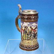 GERZ / STAFFEL STONEWARE Lidded German Beer Stein - Brewery Wagon & Horses