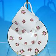 Discontinued AYNSLEY Porcelain Bone China Demitasse Teacup / Tea Cup & Saucer Set ROSEDALE