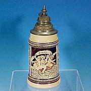 Vintage PROSIT Rococo Lidded German Beer Stein CHERUBS / PUTTI