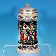 Vintage OLD GERZ German Beer Stein Gold Accents Tyrolean Hunter & Family / Cherubs AUS UNSEREM FIRMEN MARCH