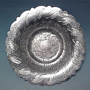 Vintage Ornate Silverplate Engraved Sandwich Plate BENEDICT - Rose Leaf #2414