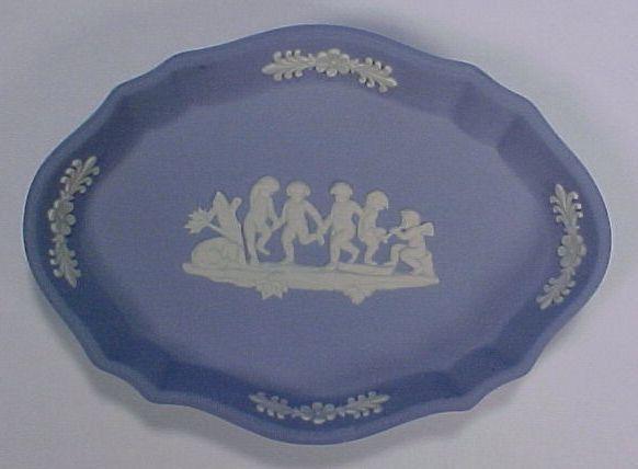 Vintage WEDGWOOD Jasperware Oval Pin Tray Pale Blue