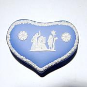 Wedgwood Jasperware Large Heart Box Pale Blue The Three Graces (c. 1971)