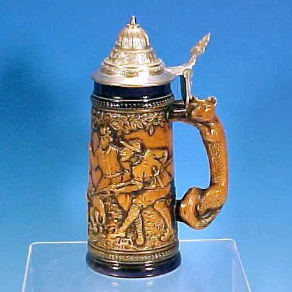 Vintage ORIGINAL GERZIT (GERZ) W. Germany Figural Fox Lidded Beer Stein Hunting Scene Wild Boar Cobalt Blue & Brown