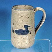 Vintage Stoneware Pottery Salt Glaze Beer Mug Tankard DUCK Artist Signed