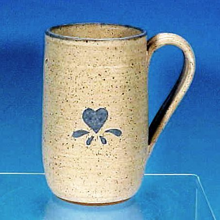 Vintage Stoneware Pottery Salt Glaze Beer Mug Tankard HEART - Artist Signed