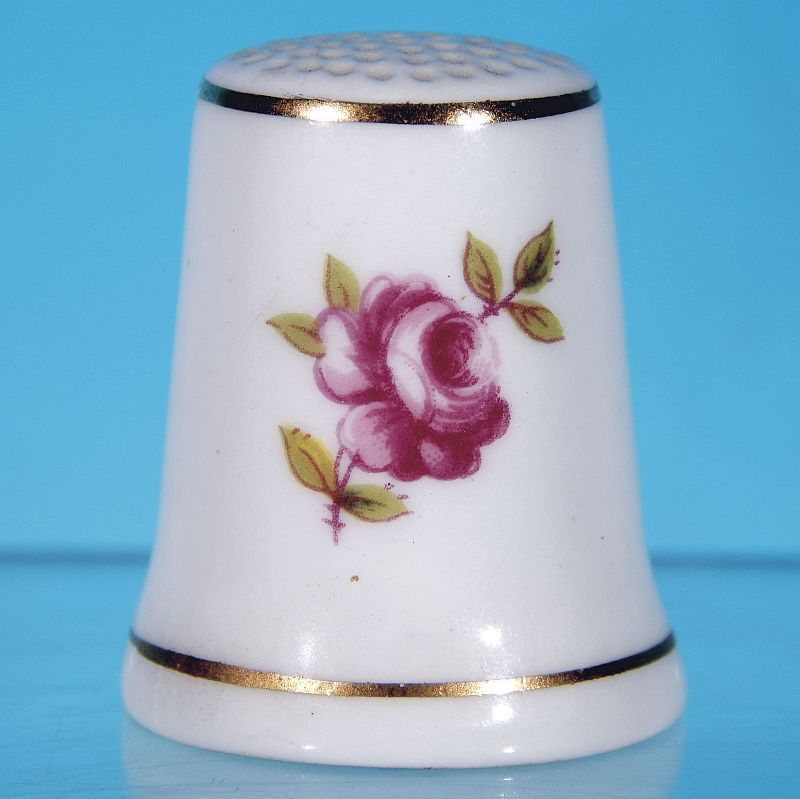 """Vintage ROYAL ADDERLEY """"Floral"""" Bone China Thimble Made in England RED ROSE"""