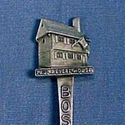 Vintage Fort PEWTER Figural Souvenir Collectible Spoon BOSTON / PAUL REVERE HOUSE