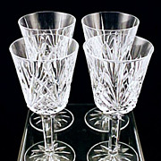 Discontinued French Crystal  VILLEMONT Water Goblets J.G. Durand - France by Cristal D'Arques Boxed set of Four (4)